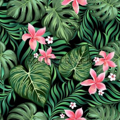 Fototapeta Modny bezszwowe wektor wzór z liści palmowych i kwiatów dżungli. Tło lato. Nadruk mody.