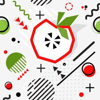 Fototapeta Modny bezszwowy, Memphis stylowy jabłczany geometryczny wzór, wektor