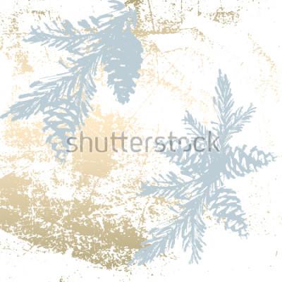 Fototapeta Modny elegancki pastelowe kolorowe tło z kształtami złotej folii i malowane sylwetki choinkowe. Abstract niezwykłe tekstury tapety, karty z pozdrowieniami, nagłówki, elementy dekoracji. Wektor