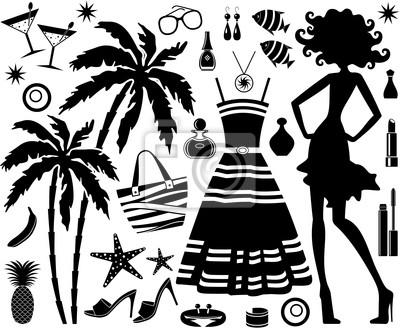 Modny zestaw tropikalnych reszta z sylwetka kobiety