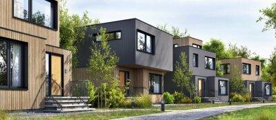 Fototapeta Modular homes exterior designs of modern architecture