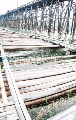 Fototapeta Mon Bridge Uttamanusorn, longest wooden bridge,Thailand