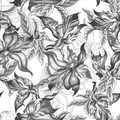 Fototapeta Monochromatyczny bez szwu tła z egzotycznych kwiatów