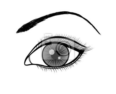 monochromatyczny czarno-biały szkic żeński oka.