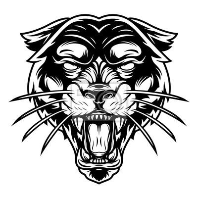 Fototapeta Monochrome ferocious panther head