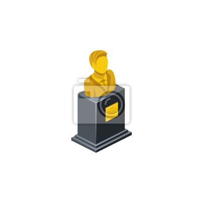 Fototapeta Monument Bust Golden Bronze. Vector 3d isometric, color web icon, new flat style. Creative illustration design, idea for infographics.
