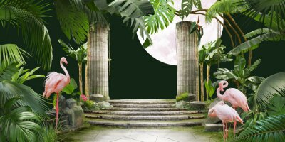 Fototapeta moon and flamingo background design with tropical palm and banana leaves, can be used as background, wallpaper