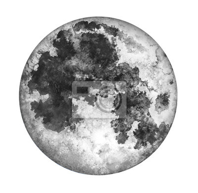 Moon isolated on white background. Watercolor hand drawn illustration.