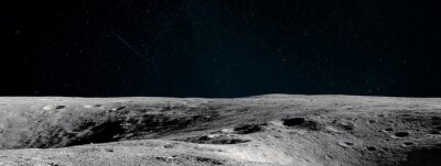 Fototapeta Moon surface. Black background. Apollo space program. Ultrawide space wallpaper. Elements of this image furnished by NASA