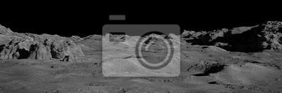 Fototapeta Moon surface, lunar landscape