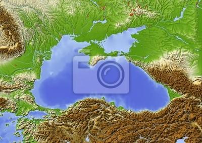 Fototapeta Morze Czarne Shaded Mapa Plastyczna Kolorowe Na