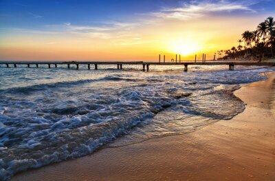 Fototapeta Morze Karaibskie zachód słońca na plaży z palmami.