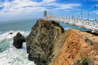 Fototapeta Most Latarnia morska na skale, Punkt Bonita Lighthouse, San Francisco, Kalifornia