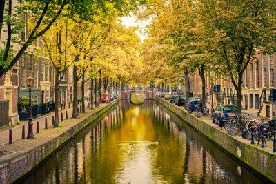 Fototapeta Most nad kanałem w Amsterdamie
