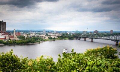 Fototapeta Most przez rzekę, Alexandra Bridge, Ottawa River, Gatineau,