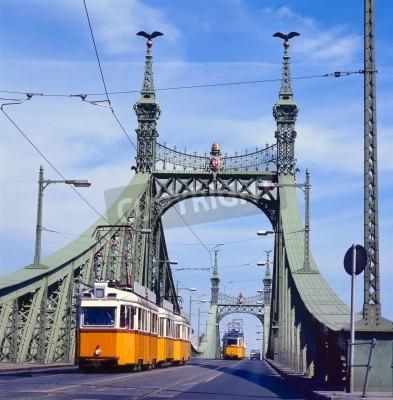 Fototapeta Most Wolności zielony z Yeloow tramwajem, w Budapeszcie, stolicy Węgier