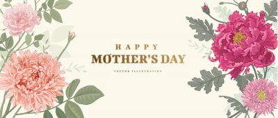 Fototapeta Mother's day poster or banner with hand drawn flowers on light background. Vector illustration