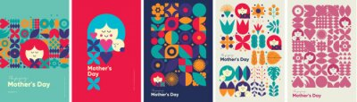 Fototapeta Mother's day. Set of vector illustrations. Abstract backgrounds, patterns, mother's day cards. Cover, poster, wallpaper. Minimalistic retro postcards.