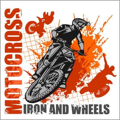 Fototapeta Motocross sport - grunge plakat