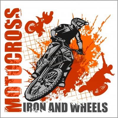 Fototapeta Motocross sport - grunge vector emblem for t-shirts