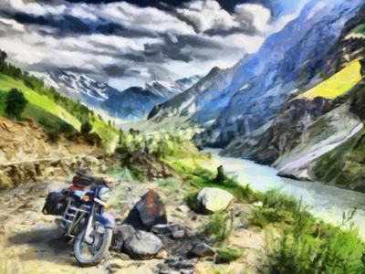 Fototapeta Motocykl przygoda w górach Himalajów obraz olejny