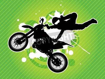 Fototapeta Motocyklista i sylwetka na zielonym tle grunge