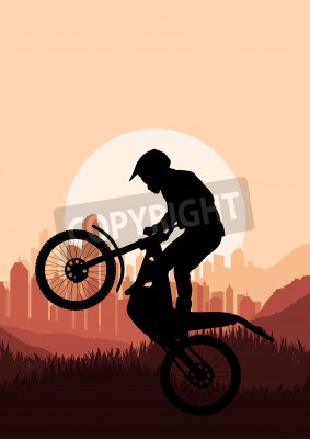 Fototapeta Motorbike rider in skyscraper city landscape background illustration