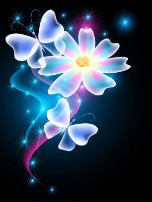 Fototapeta Motyle i kwiaty neon z błyszczącego dymu i gwiazdy