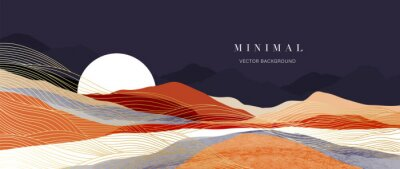 Fototapeta Mountain background vector. Minimal landscape art with watercolor brush and golden line art texture. Abstract art wallpaper for prints, Art Decoration, wall arts and canvas prints.