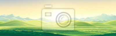 Fototapeta Mountain landscape with a dawn, an elongated format for the convenience of using it as a background.