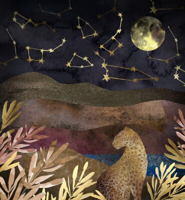 Fototapeta .Mountain night landscape with leopard. .Collage of textured shiny metallic paper