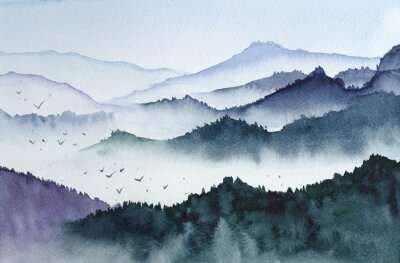 Fototapeta Mountains black and white watercolor