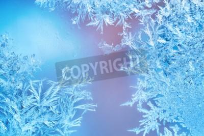 Fototapeta Mrożone okna w zimie mróz z dekoracjami