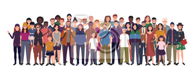 Fototapeta Multinational group of people isolated on white background. Children, adults and teenagers stand together. Illustration
