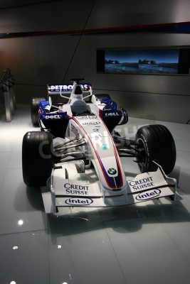 Fototapeta MUNICH - AUGUST 7: Formula One car of BMW Sauber team on August 7, 2008 in BMW Welt museum in Munich, Germany. BMW Sauber was the 2nd F1 team in 2007 and the 3rd in 2008.
