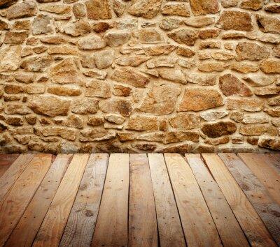 Fototapeta mur z drewnianą podłogą