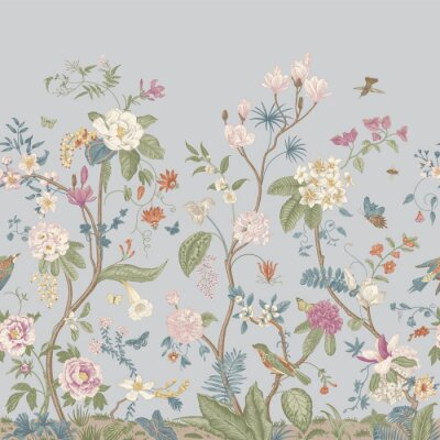 Fototapeta Mural. Bloom. Chinoiserie inspired. Vintage floral illustration. Pastel colors