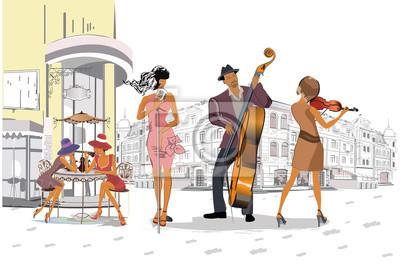 Muzycy na imprezie. Zespół jazzowy. Ręcznie rysowane ilustracji wektorowych.