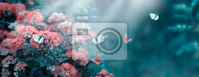 Fototapeta Mysterious fairytale spring or summer fantasy floral banner with rose flowers garden, flying peacock eye and blue butterflies on blurred beautiful background toned in soft pastel colors and sun rays