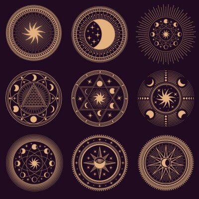 Fototapeta Mystic circle symbols. Vector illustration set. Astrology moon and pyramid, eclipse spirituality, freemasonry mysterious collection round emblems