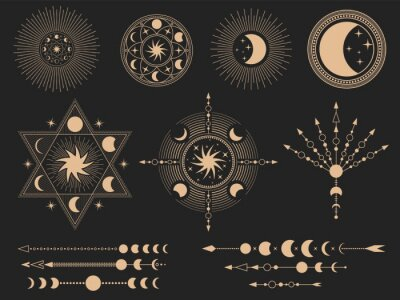 Fototapeta Mystic magic symbols. Vector illustration set. Magic mystery tattoo, spirituality esoteric occult masonic, freemasonry linear symbol