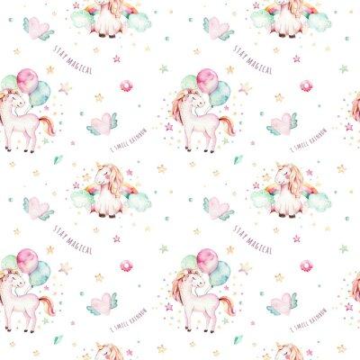 Fototapeta Na białym tle ładny wzór akwarela jednorożca. Aquarelle tęczówki jednorożców. Księżniczka unicornscollection. Modny różowy koń kreskówka.