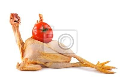 Fototapeta nago świeży kurczak gospodarstwa duże pomidor na białym tle