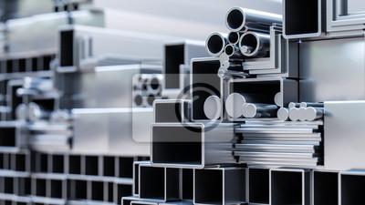 Fototapeta nahaufnahme von sortiment verschiender metall Profile aus aluminium und stahl als baustoff oder werkstoff in lager von großhandel oder baumarkt zur auswahl als 3d rendering