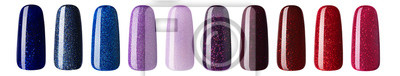 Fototapeta Nail polish with glitter in fashion different pastel color. Colorful nail lacquer in tips isolated white background
