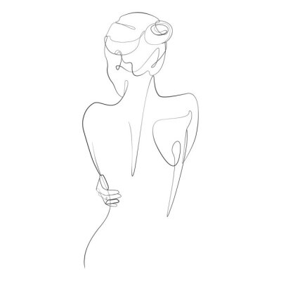 Fototapeta Naked woman standing back one line drawing on white isolated background. Vector illustration