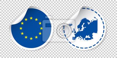 Fototapeta naklejki Europy z flagą i mapą. Etykieta Unia Europejska, okrągły znacznik z kraju. Ilustracji wektorowych na białym tle.