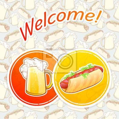 Napojów Coaster z piwa i Hot Dog
