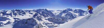 Fototapeta Narty z niesamowitym widokiem znanych szwajcarskich górach piękne