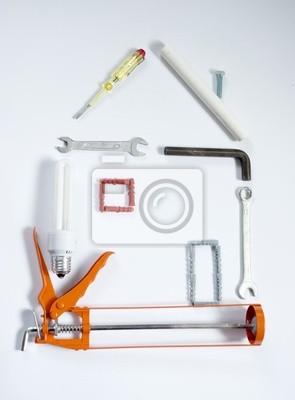 Fototapeta Narzędzia budowlane w kształcie domu
